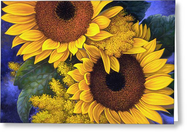 Botanicals Greeting Cards - Sunflowers Greeting Card by Mia Tavonatti