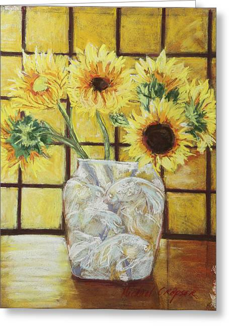 Interior Still Life Pastels Greeting Cards - Sunflowers Greeting Card by Michael Crapser