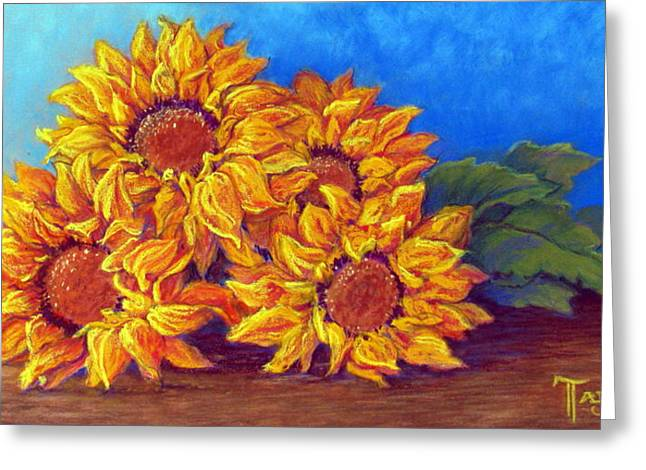 Realistic Pastels Greeting Cards - Sunflowers of Fall Greeting Card by Tanja Ware