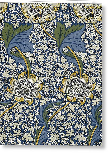 Wallpaper Tapestries Textiles Greeting Cards - Sunflowers on Blue Pattern Greeting Card by William Morris