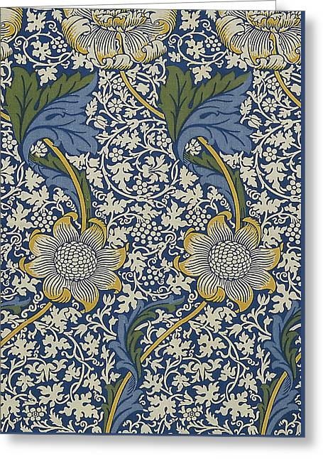 Foliage Tapestries - Textiles Greeting Cards - Sunflowers on Blue Pattern Greeting Card by William Morris