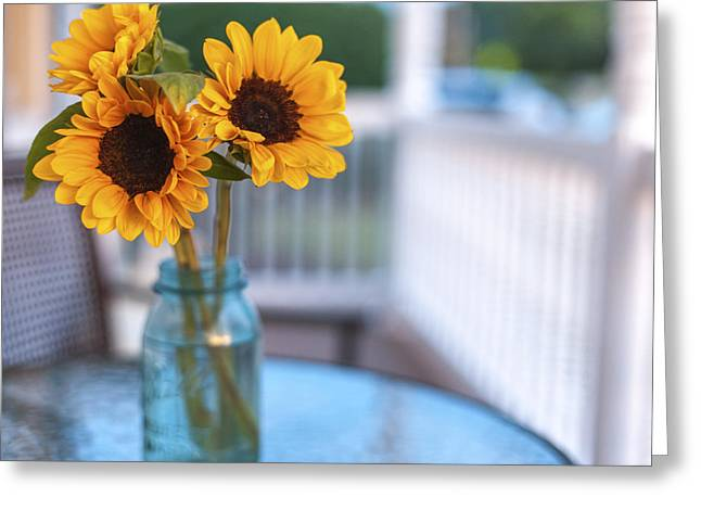 Baby Room Greeting Cards - Sunflowers on The Porch Greeting Card by Terry DeLuco