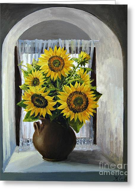 Interior Still Life Paintings Greeting Cards - Sunflowers on The Window Greeting Card by Kiril Stanchev