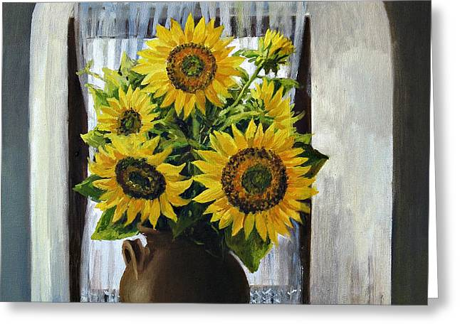Sunflowers on The Window Greeting Card by Kiril Stanchev