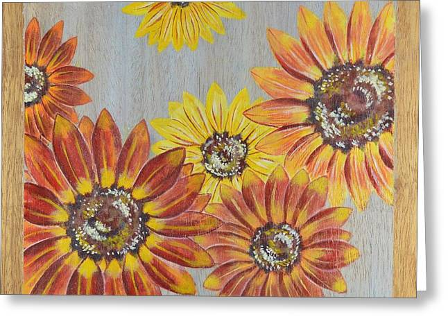 Sunflowers On Wood Panel II Greeting Card by Elizabeth Golden