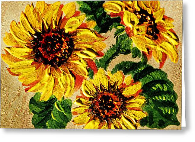 Wooden Board Greeting Cards - Sunflowers On Wooden Board Greeting Card by Irina Sztukowski