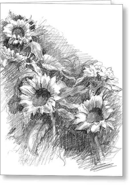 Office Space Drawings Greeting Cards - Sunflowers Greeting Card by Sarah Parks