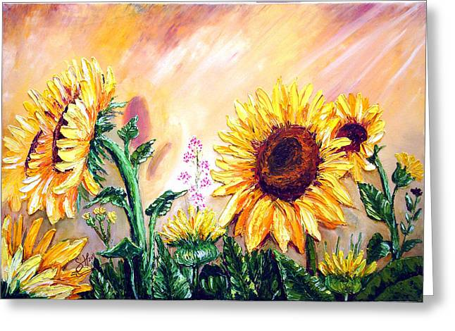 Bob Ross Paintings Greeting Cards - SUNFLOWERs Greeting Card by Shirwan Ahmed