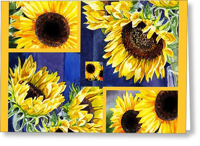 Fine Dining Canvases Greeting Cards - Sunflowers Sunny Collage Greeting Card by Irina Sztukowski