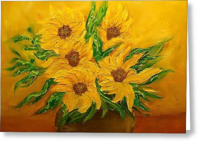 Svetla Dimitrova Greeting Cards - Sunflowers Greeting Card by Svetla Dimitrova
