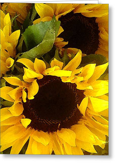 Sunflowers Tall Greeting Card by Amy Vangsgard