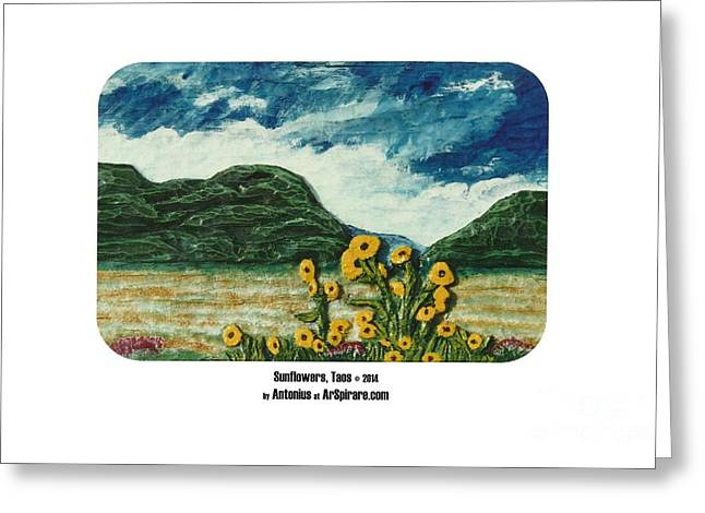 Photo Reliefs Greeting Cards - Sunflowers Taos Greeting Card by ArSpirare by Antonius