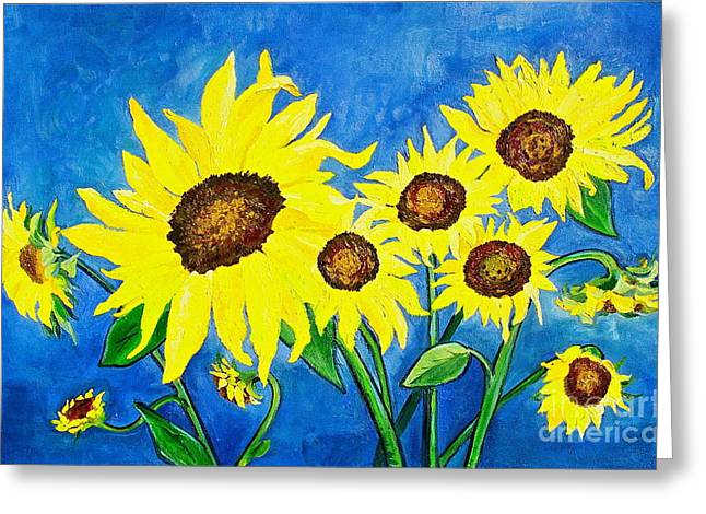 Canmore Artist Greeting Cards - Sunflowers Greeting Card by Virginia Ann Hemingson