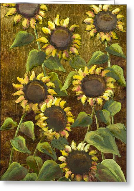 Sunflowers With Gold Leaf By Vic Mastis Greeting Card by Vic  Mastis