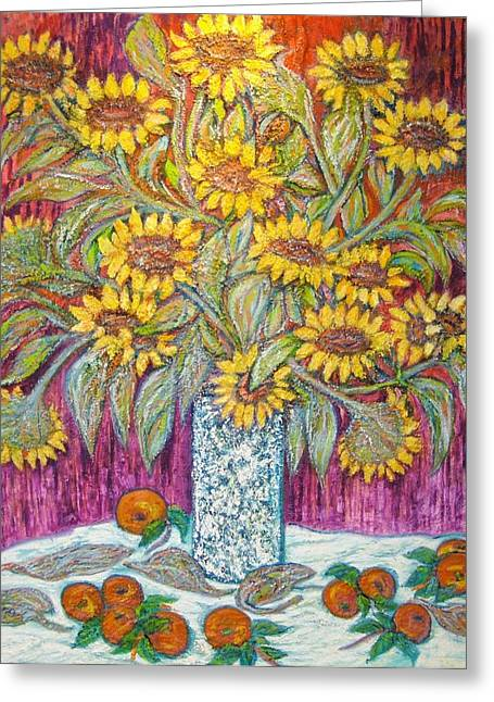 Art Sale Sculptures Greeting Cards - SUNFLOWERS with RED APPLES Greeting Card by Gunter  Hortz
