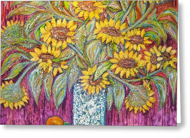 SUNFLOWERS with RED APPLES Greeting Card by Gunter  Hortz
