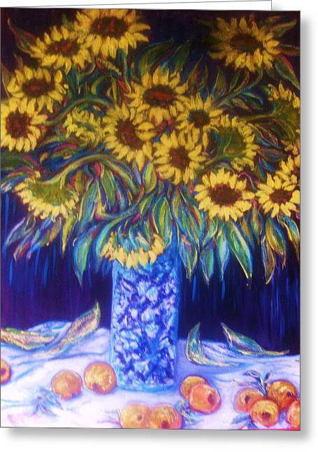 Cava Sculptures Greeting Cards - Sunflowers with Yellow Apples  1 Greeting Card by Gunter  Hortz