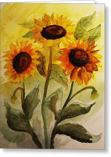 Yellow Sunflower Greeting Cards - Sunflowr Power Greeting Card by Dottie Gillespie
