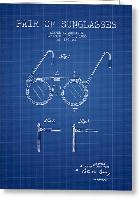Sunglasses Greeting Cards - Sunglasses patent from 1950 - Blueprint Greeting Card by Aged Pixel