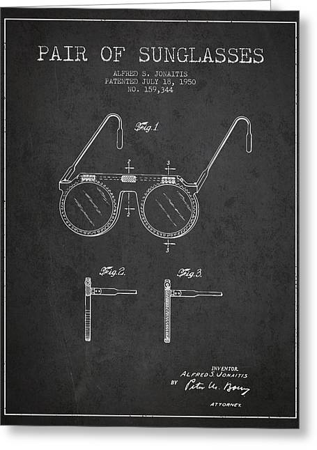 Glass Wall Greeting Cards - Sunglasses patent from 1950 - Dark Greeting Card by Aged Pixel