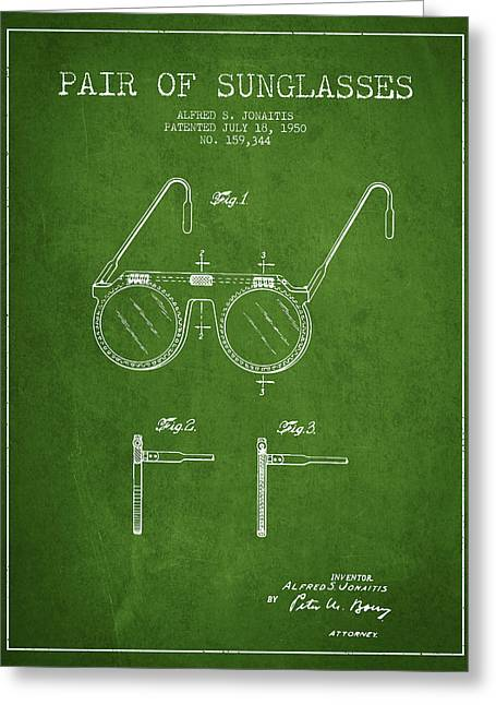 Sunglasses Greeting Cards - Sunglasses patent from 1950 - Green Greeting Card by Aged Pixel