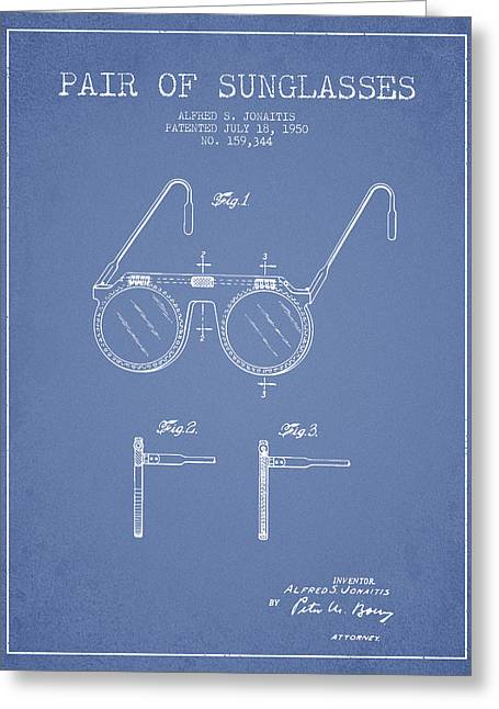 Sunglasses Greeting Cards - Sunglasses patent from 1950 - Light Blue Greeting Card by Aged Pixel
