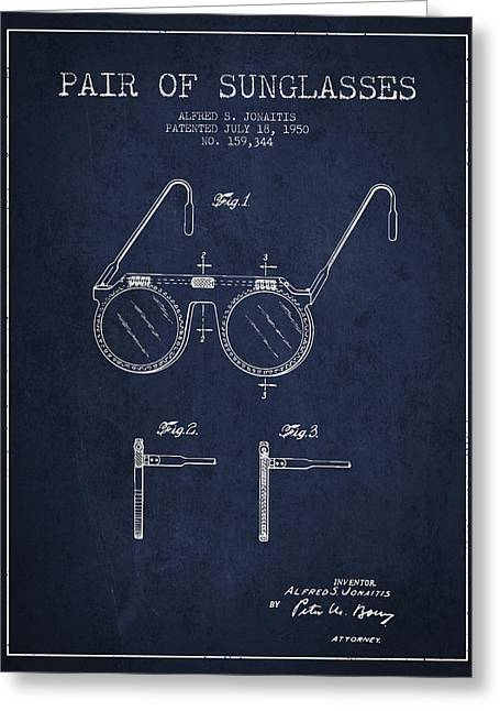 Glass Wall Greeting Cards - Sunglasses patent from 1950 - Navy Blue Greeting Card by Aged Pixel