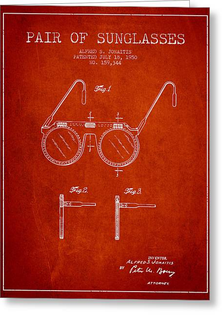 Sunglasses Greeting Cards - Sunglasses patent from 1950 - Red Greeting Card by Aged Pixel