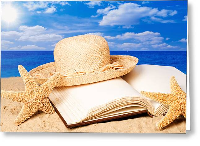 Straw Greeting Cards - Sunhat In Sand Greeting Card by Amanda And Christopher Elwell