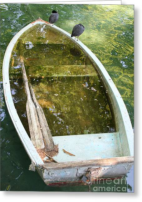 Row Boat Greeting Cards - Sunken Boat Greeting Card by Holly C. Freeman