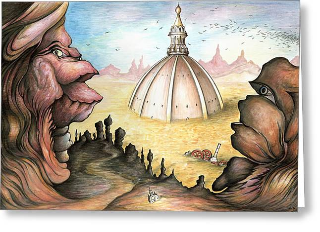 Surreal Landscape Drawings Greeting Cards - Sunken City - Surrealistic Painting Greeting Card by Peter Fine Art Gallery  - Paintings Photos Digital Art