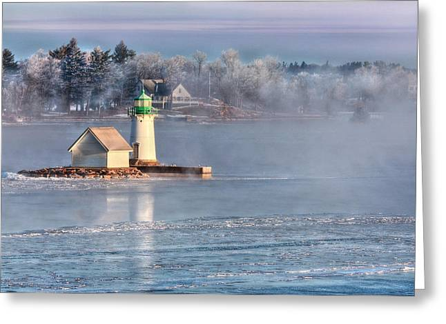Bay St. Lawrence Greeting Cards - Sunken Rock Lighthouse Greeting Card by Lori Deiter
