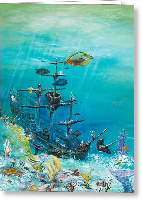 Sunken Ship Habitat Greeting Card by John Garland  Tyson