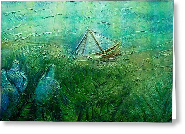 Water Vessels Mixed Media Greeting Cards - Sunken Ship Greeting Card by Jan Wendt