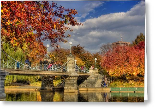 Recently Sold -  - Pond In Park Greeting Cards - Sunkissed Lagoon Bridge Greeting Card by Joann Vitali