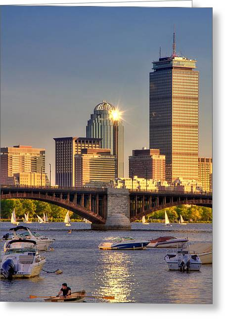 Boston North End Greeting Cards - Sunkissed Prudential - Boston Greeting Card by Joann Vitali