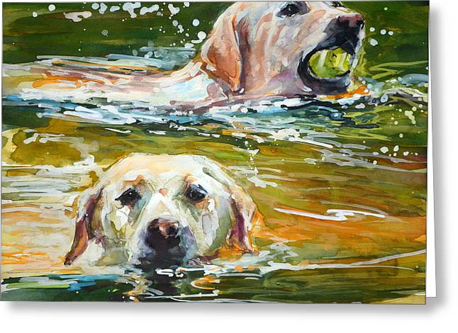 Yellow Dog Paintings Greeting Cards - Sunkist Greeting Card by Molly Poole
