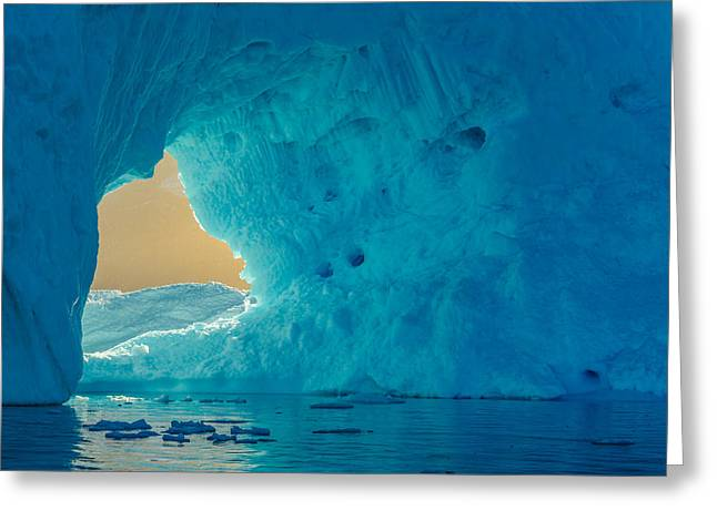 Sunlit Window - Greenland Iceberg Photograph Greeting Card by Duane Miller