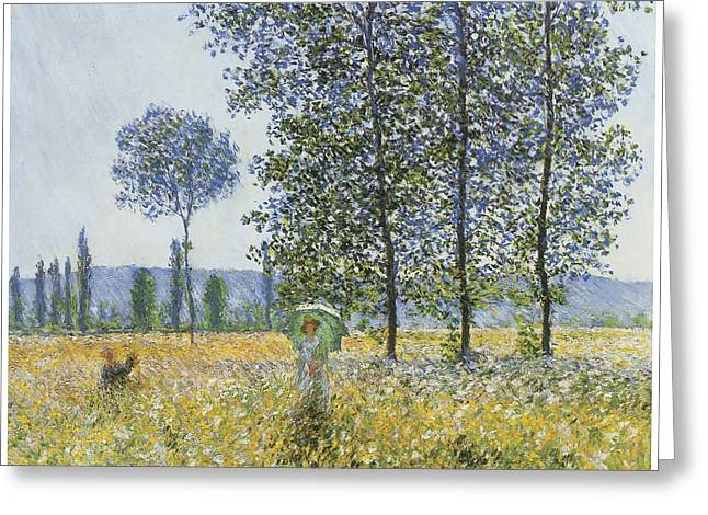 Summer Scene Greeting Cards - Sunlight Effect under the Poplars Greeting Card by Claude Monet
