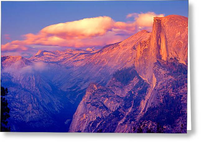 Sunlight Falling On A Mountain, Half Greeting Card by Panoramic Images