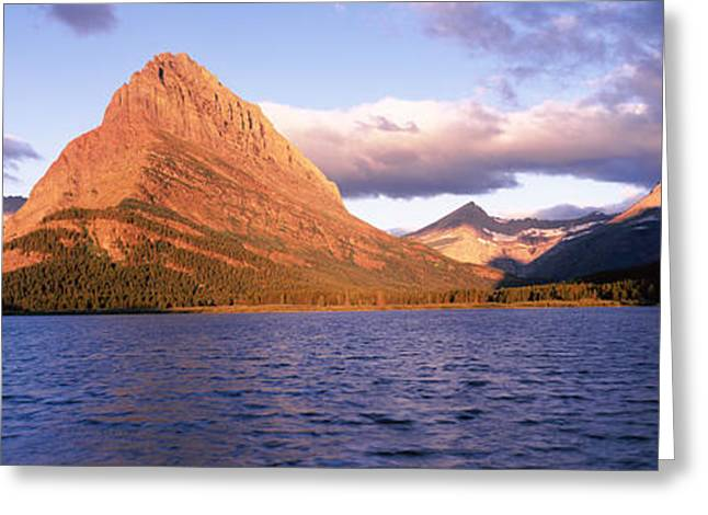 Many Glacier Greeting Cards - Sunlight Falling On Mountains Greeting Card by Panoramic Images