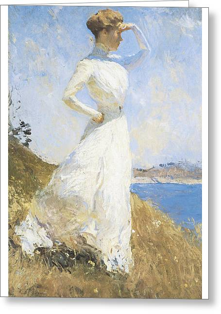 Woman In A Dress Greeting Cards - Sunlight Greeting Card by Frank Benson