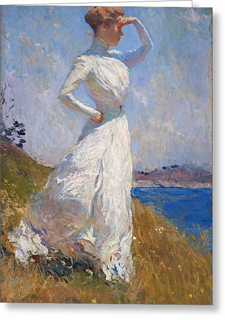 Lady In Lake Greeting Cards - Sunlight Frank Weston Benson 1909 Greeting Card by Movie Poster Prints