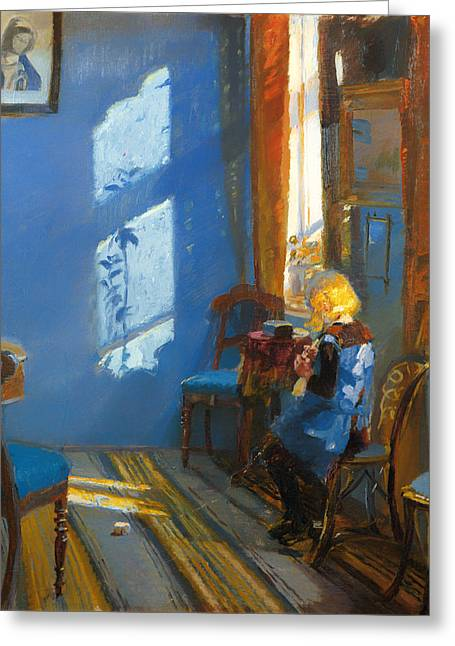 Sunlight On Flowers Greeting Cards - Sunlight in a Blue Room Greeting Card by Anna Ancher