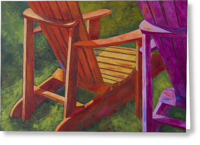 Leipers Fork Paintings Greeting Cards - Sunlight on Adirondack Chairs  Greeting Card by Arthur Witulski