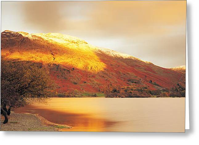 Mountain Greeting Cards - Sunlight On Mountain Range, Ullswater Greeting Card by Panoramic Images