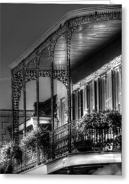 Chrystal Greeting Cards - Sunlight On New Orleans Balcony Greeting Card by Greg and Chrystal Mimbs