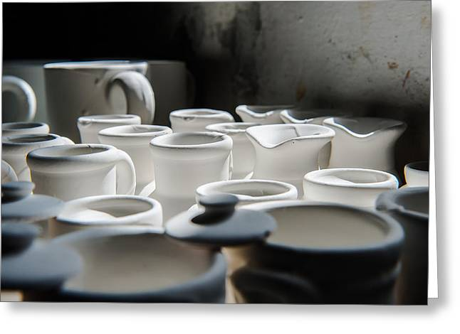 Pottery Pitcher Greeting Cards - Sunlight on white jugs and vases Greeting Card by Joseph Amaral