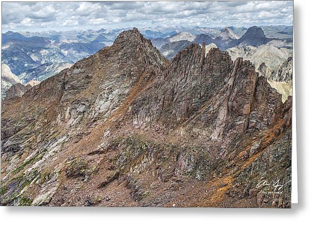 Sunlight Peaking Greeting Cards - Sunlight Peak from Windom Greeting Card by Aaron Spong