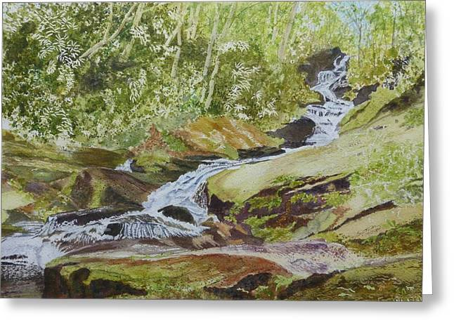 Roaring Fork Road Greeting Cards - Sunlight Rocks and Water   Greeting Card by Joel Deutsch